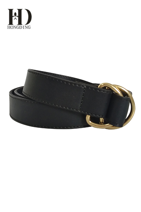 Black leather belts with D-Ring for men