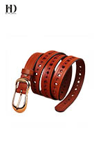 HongDing Multi-Color Cowhide Leather Perforated Jeans Belts with Pin Buckle for Women