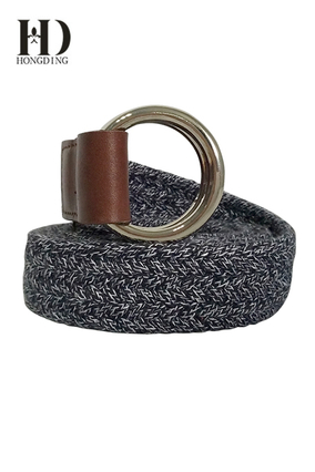 Grey Fabric Womens belts with Round Buckle