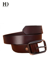 HongDing Dark Brown Genuine Cowhide Leather Jeans Belts with Pin Buckle for Men