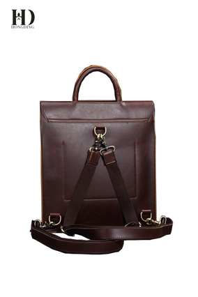 HongDing Coffee Backpacks Retro Shoulder bags High Quality Genuine Leather Handbags For Men
