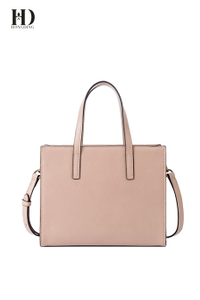 HongDing Pink PU Leather Handbags with Long Shoulder Strap and Bronze Hardware for Women