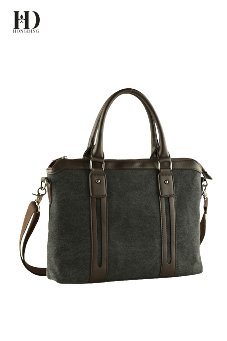 HongDing Grey-Black High-Quality Splicing PU Leather Canvas Handbags with Shoulder Strap for Men