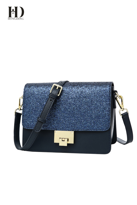 HongDing Dark Blue Genuine Cowhide Leather Handbags with Exquisite Sequins for Women