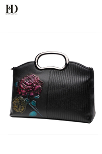 HD Black Three-Dimensional Cowhide Leather Carving Handbags with Metal Shoulder Strap for Women