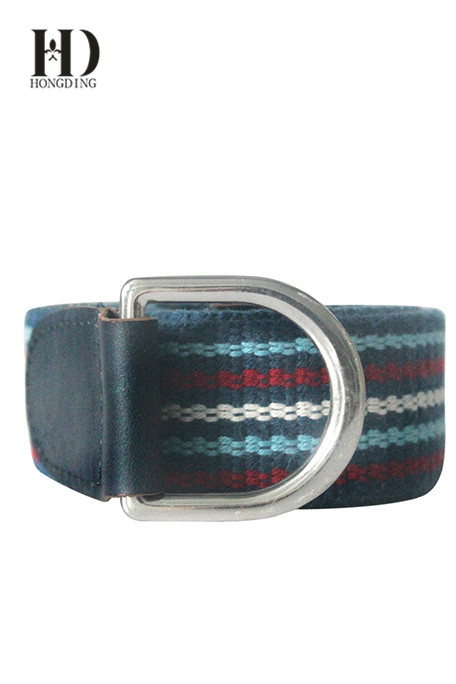Men's Elastic Braided Stretch Belt With Silver Buckle