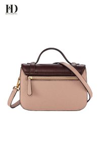 HongDing Retro Contrast Color Cowhide Leather Handbags with Shoulder Strap for Women