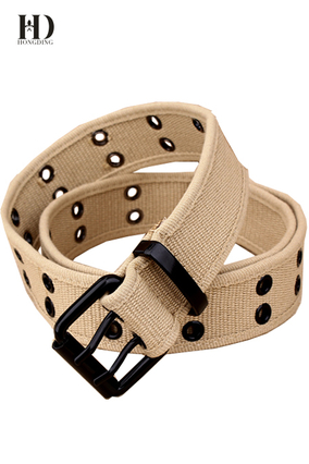 HongDing Khaki All-Match Braided Hollow-Out Webbing Belts with Double Pin Buckle for Men