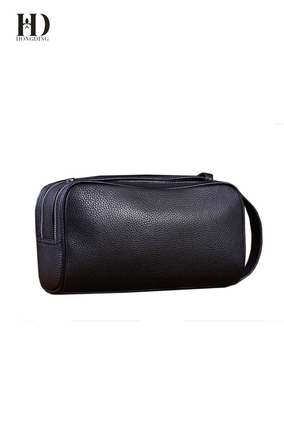 HongDing Black Business Big Capacity Genuine Cowhide Leather Handbags for Men