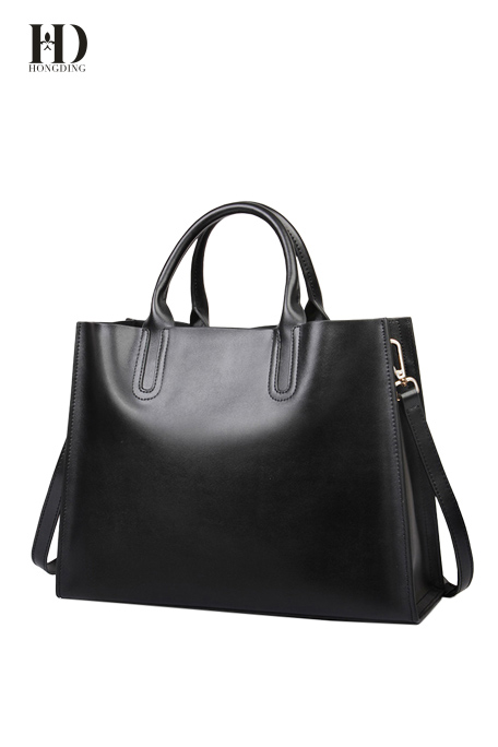 HongDing Black Large Capacity Genuine Cowhide Leather Women's Handbags with Shoulder Strap