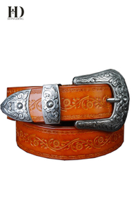 HongDing Yellow Genuine Leather Carved Belts with Pin Buckle Retro Three-Piece Belt for Women