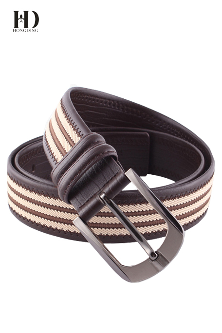 HongDing Coffee Canvas Genuine Leather Splicing Belts with Pin Buckle Fashion Belt for Men