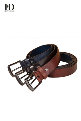 HongDing Brown Genuine Cowhide Leather Business Jeans Belts with Pin Buckle for Men