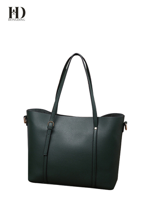 HongDing Dark Green Genuine Cowhide Leather Handbags for Women with Strong Shoulder Strap