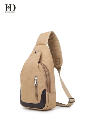 HongDing Light Coffee Fashion All-Match Canvas Chest Bags Shoulder Bags for Men
