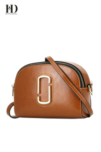 HongDing Brown Oil Wax Genuine Cowhide Leather Women's Shoulder Bags