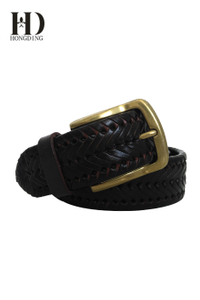 Men's Braided Leather Belt with Lacing Details