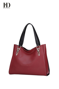 HongDing Red Split Cowhide Leather Handbags with Large Capacity for Women