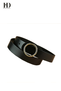 HongDing Black Minimalist Genuine Cowhide Leather Jeans Belts with Round Alloy Buckle for Women