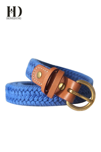 Men's Cotton Web Belt With Leather Tabs