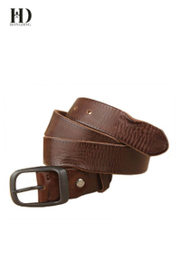 HongDing Coffee Retro Genuine Cowhide Leather Jeans Belts with Retro Alloy Buckle for Women
